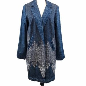 Chico's Appliqué Embroidered Open Front Jacket